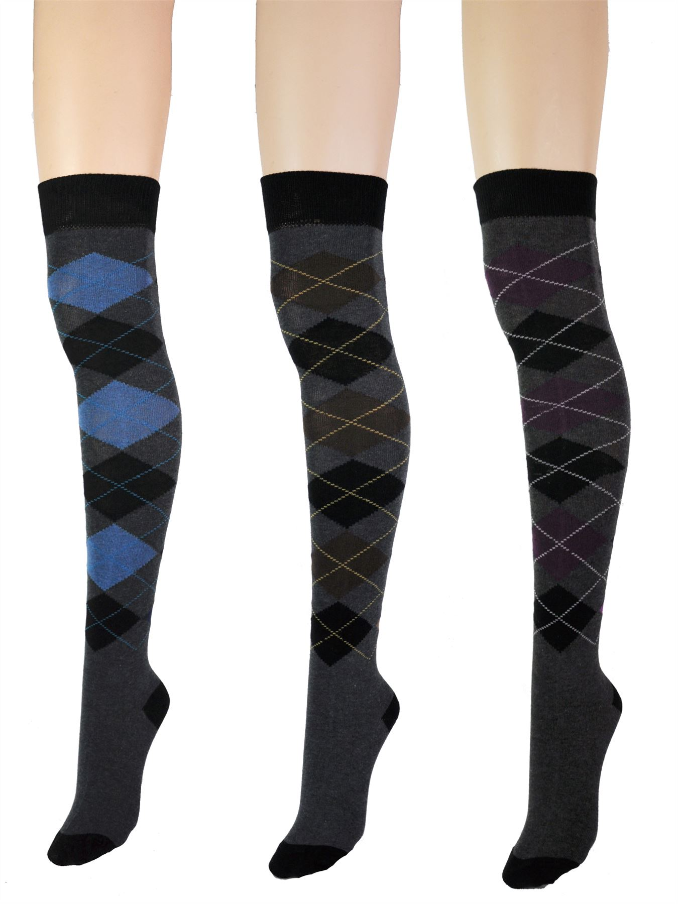 Argyle Diamond Check Over The Knee Thigh High Long Ladies Socks One Size UK 4-7