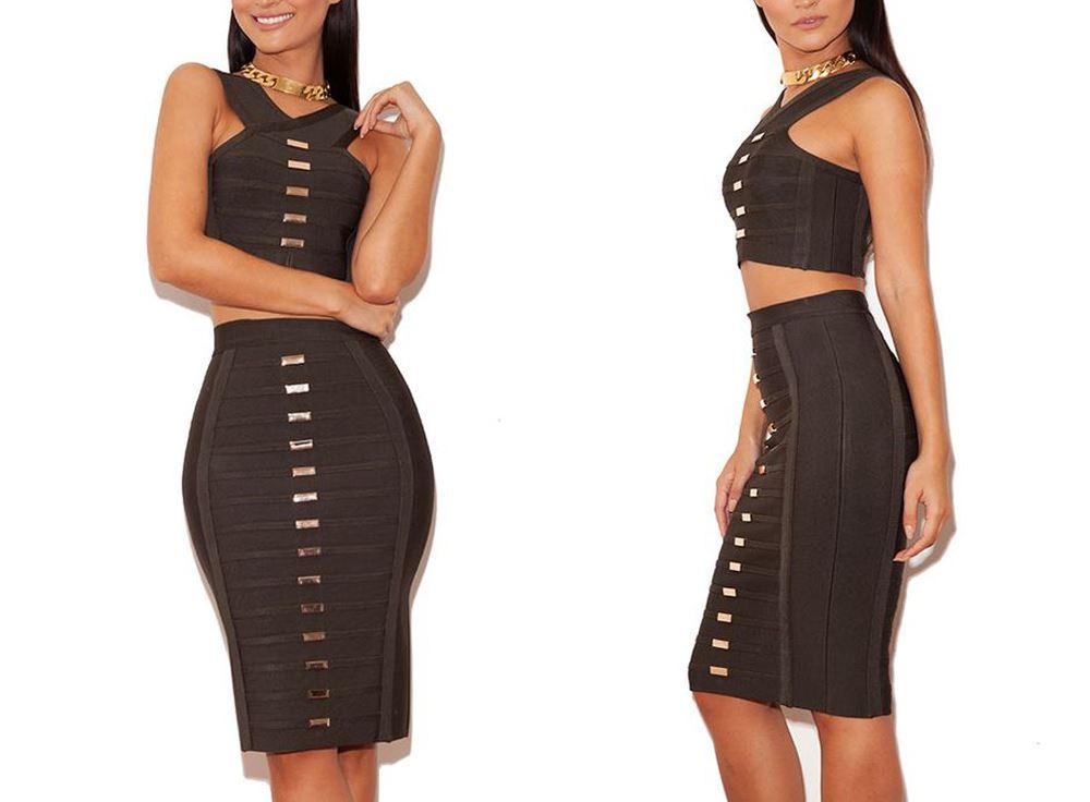 Quality Atchara Women/'s Celeb Bandage Sweetheart Cut Crop Top /& Skirt Mini Dress