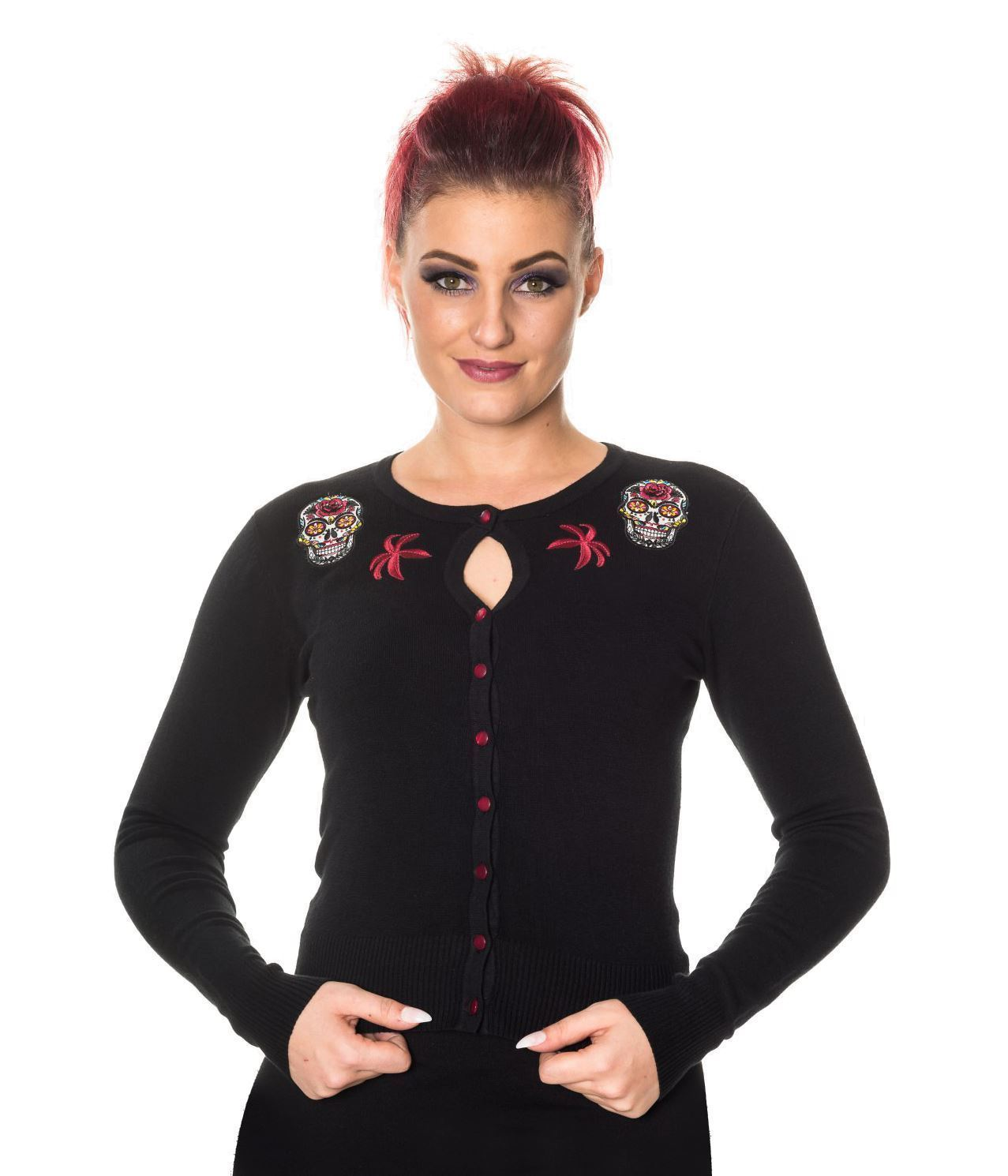 Women/'s Black Gothic Punk Rockabilly Sugar Skull Lace Paloma Top Banned Apparel