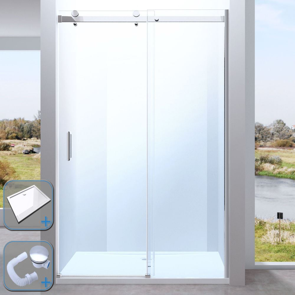 Sliding Glass Door Frameless Shower Enclosure Cubicle With Stone ...