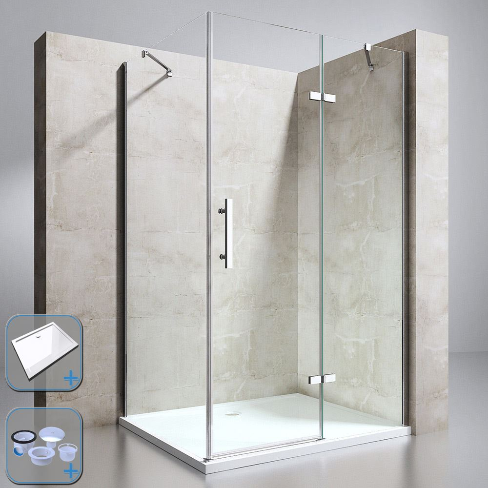 Durovin Shower Enclosure And Acrylic Tray Hinged Corner Glass Door