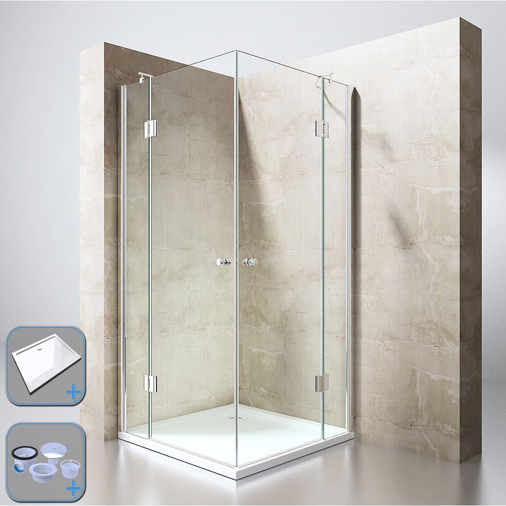 Square Corner Shower Cubicle Hinged Glass Door Stone Or Acrylic Tray ...