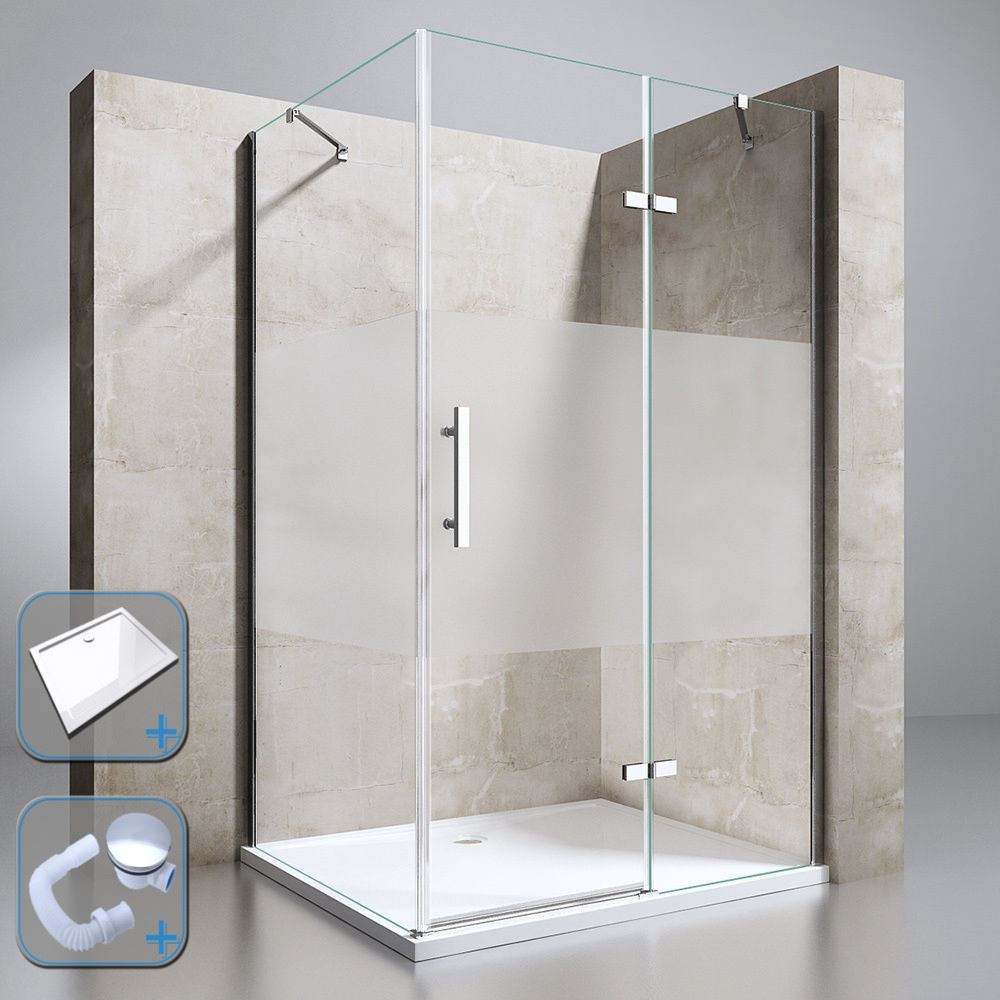 Durovin Shower Cubicle And Stone Acrylic Tray Frosted Hinged Glass