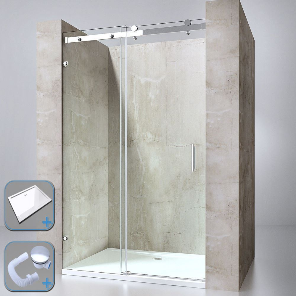 Durovin Bathrooms Sliding Glass Door Shower Cubicle Stone Acrylic ...
