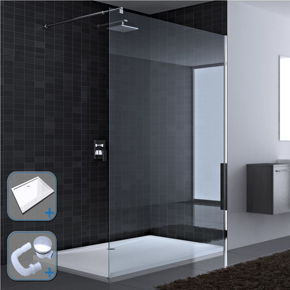 Durovin Bathroom Clear Walk In Shower Enclosure Various Sizes With ...