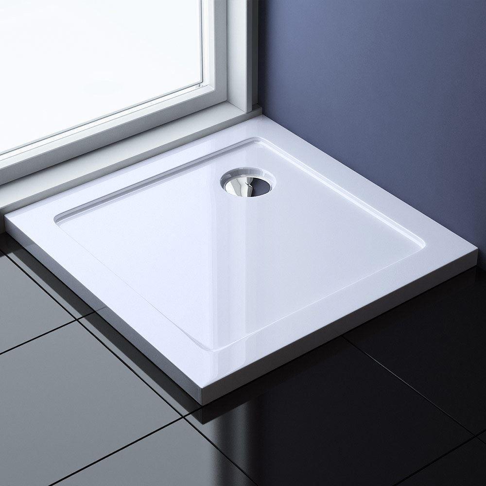 Bathroom Shower Tray Square Anti Slip Slimline 400mm and Free Waste ...