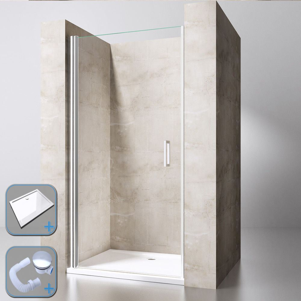 Double Pivot Shower Enclosure Glass Door 6mm Thick Stone Tray Waste