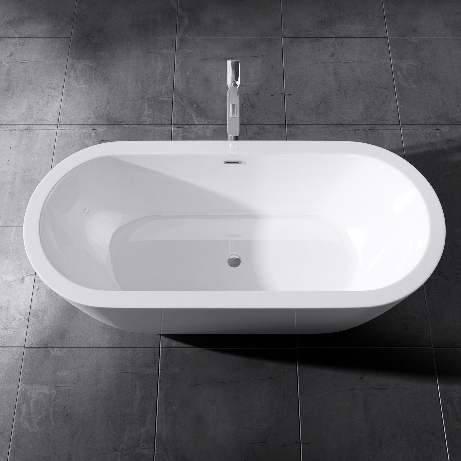 Durovin Square Double Ended Freestanding Bath Tub Acrylic White ...