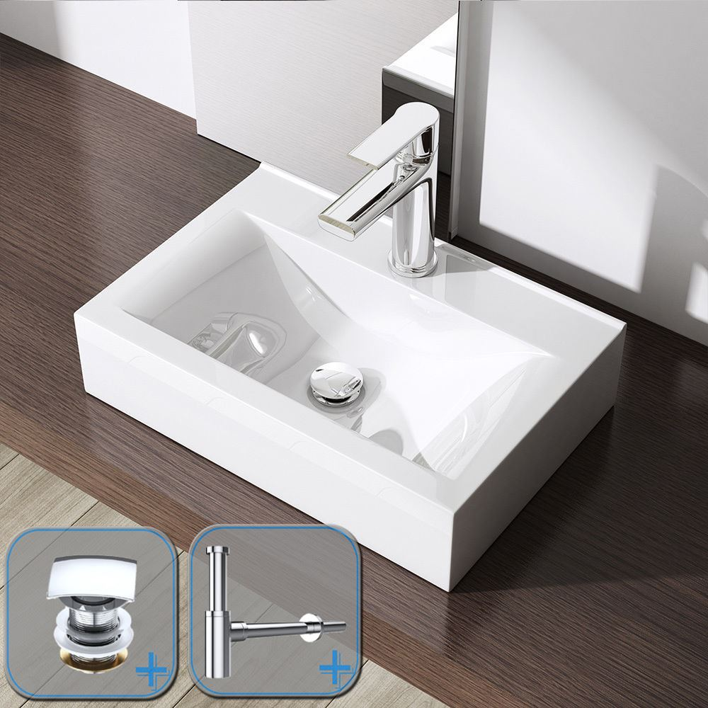 Cloakroom compact counter top modern square mounted wash for Wall mounted bathroom countertop
