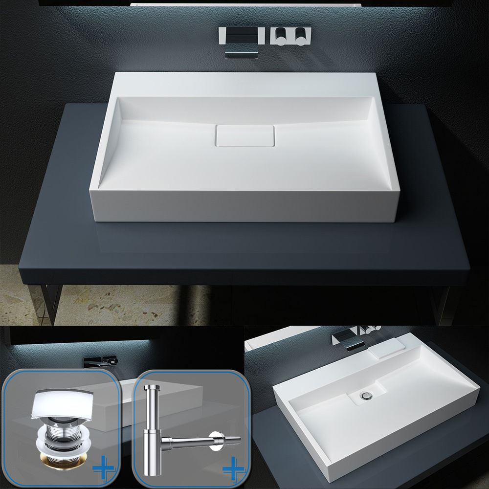 Durovin Bathrooms Luxurious Cast Stone Basin   Wall Hung Or Counter on