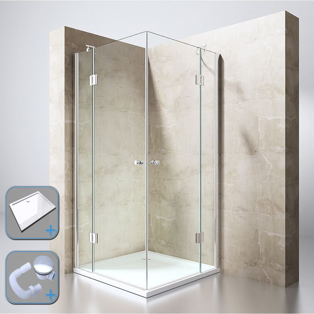 Durovin Bathrooms Square Shower Enclosure Ravenna 1 800mm Hinged