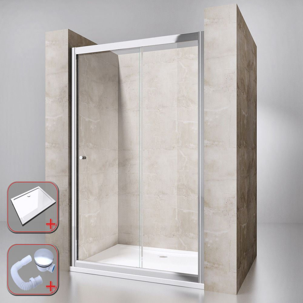 Sliding Glass Door Walk In Shower Enclosure With 1200mm X 900mm