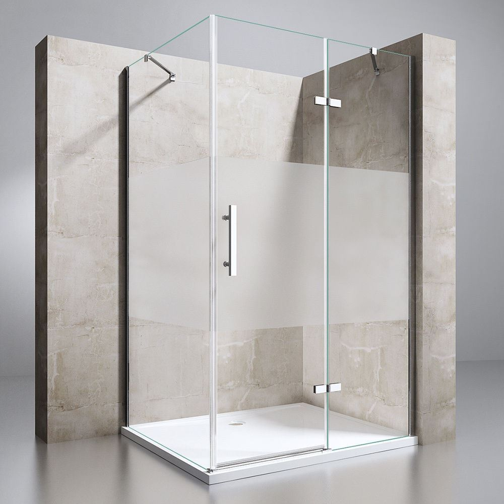 900x750mm Hinged Door Frameless Shower Cabin Cubicle 6mm Frosted