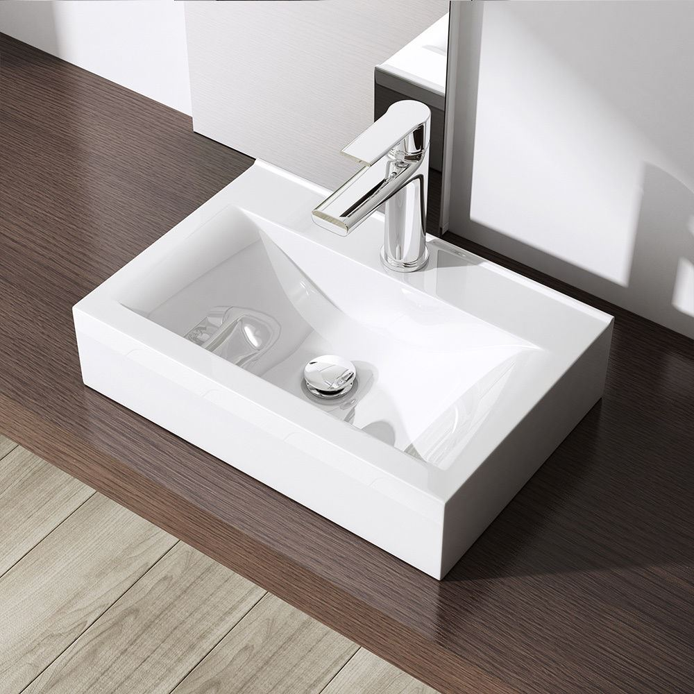 Durovin bathroom white basin sink range stone wall mounted for Wall mounted bathroom countertop