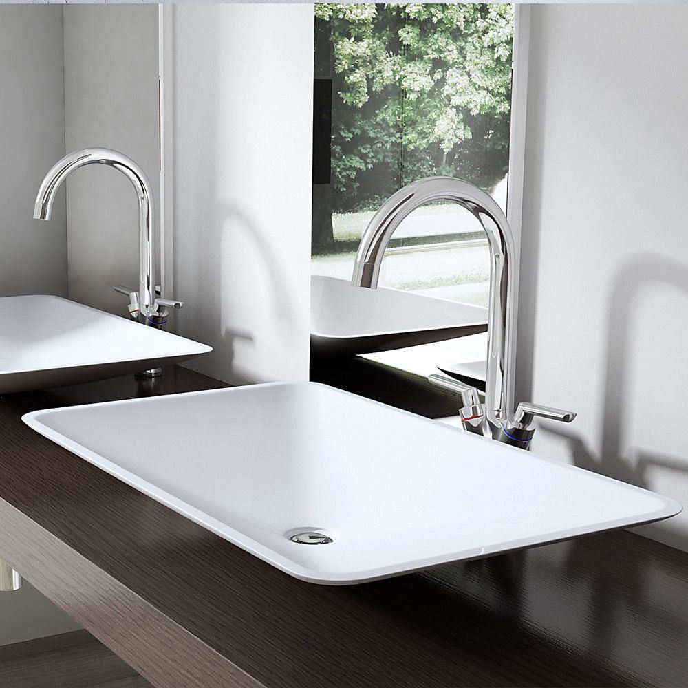 Modern stone basin 600mm no tap hole wall hung or counter for Modern bathroom basins