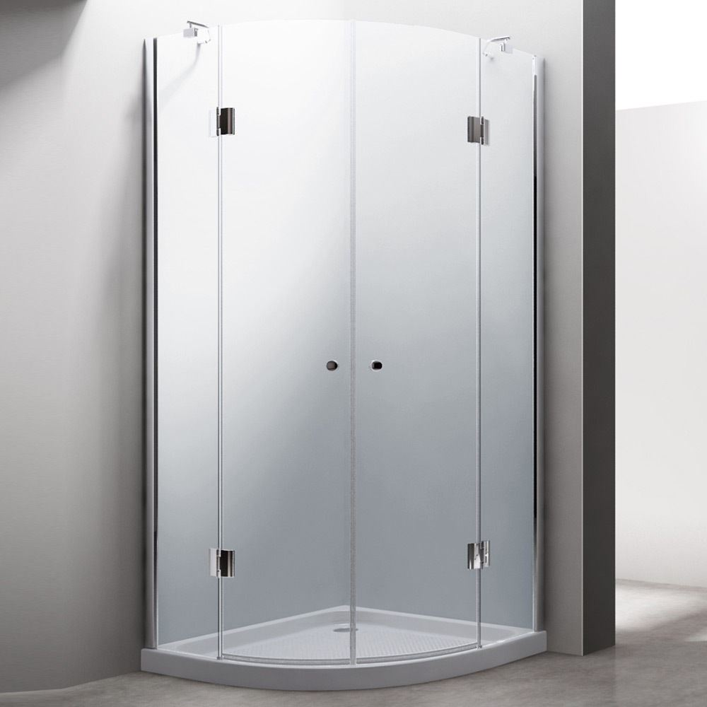 Shower Enclosure Frameless Hinged 100cm Curved Quadrant Cabin 8mm