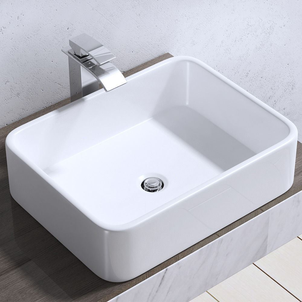 Modern Square Bathroom Sink Countertop Basin White Wc Hand Wash Bowl 580 X 380mm Ebay