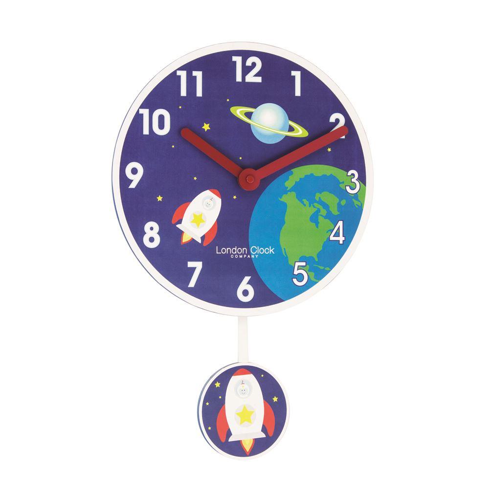 London Clock Co 40cm Blue Rocket Pendulum Childrens Wall Clock