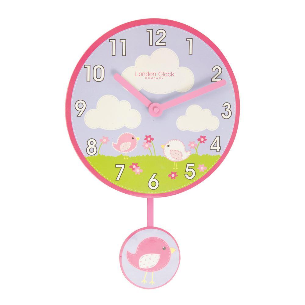 London Clock Co 40cm Pink Birds Pendulum Childrens Wall Clock