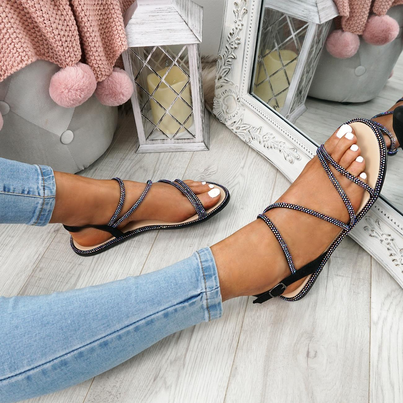 WOMENS-LADIES-STUDDED-ANKLE-STRAP-FLAT-SHOES-PARTY-CLUB-SANDALS-SHOES-SIZE-UK thumbnail 5