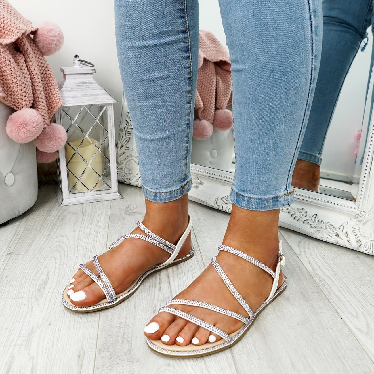WOMENS-LADIES-STUDDED-ANKLE-STRAP-FLAT-SHOES-PARTY-CLUB-SANDALS-SHOES-SIZE-UK thumbnail 19