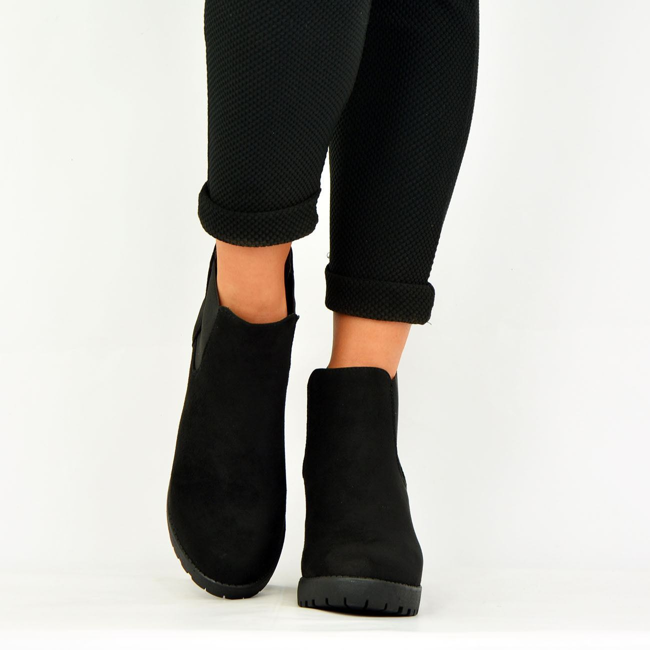 LADIES-WOMENS-ANKLE-CHELSEA-BOOTS-CHUNKY-BLOCK-HEELS-PLATFORM-SHOES-SIZE-UK-3-8 thumbnail 10