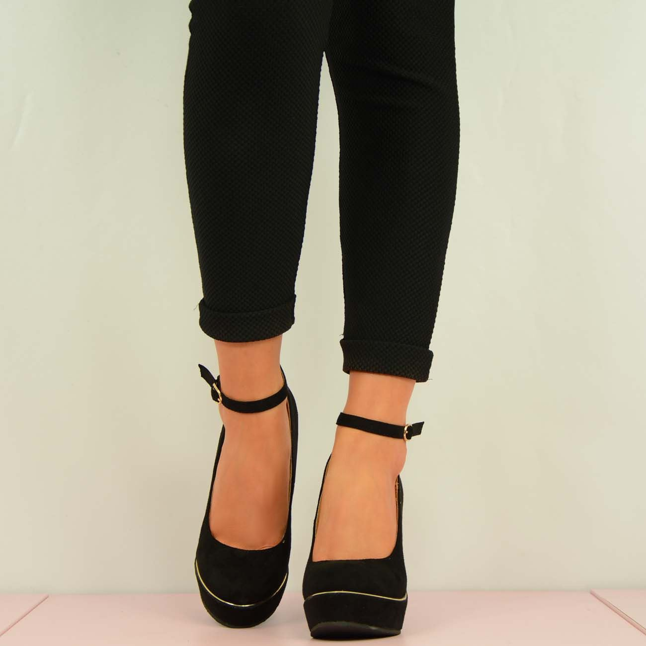 New-Womens-High-Heel-Wedges-Ladies-Black-Ankle-Strap-Platforms-Shoes-Size-Uk-3-8