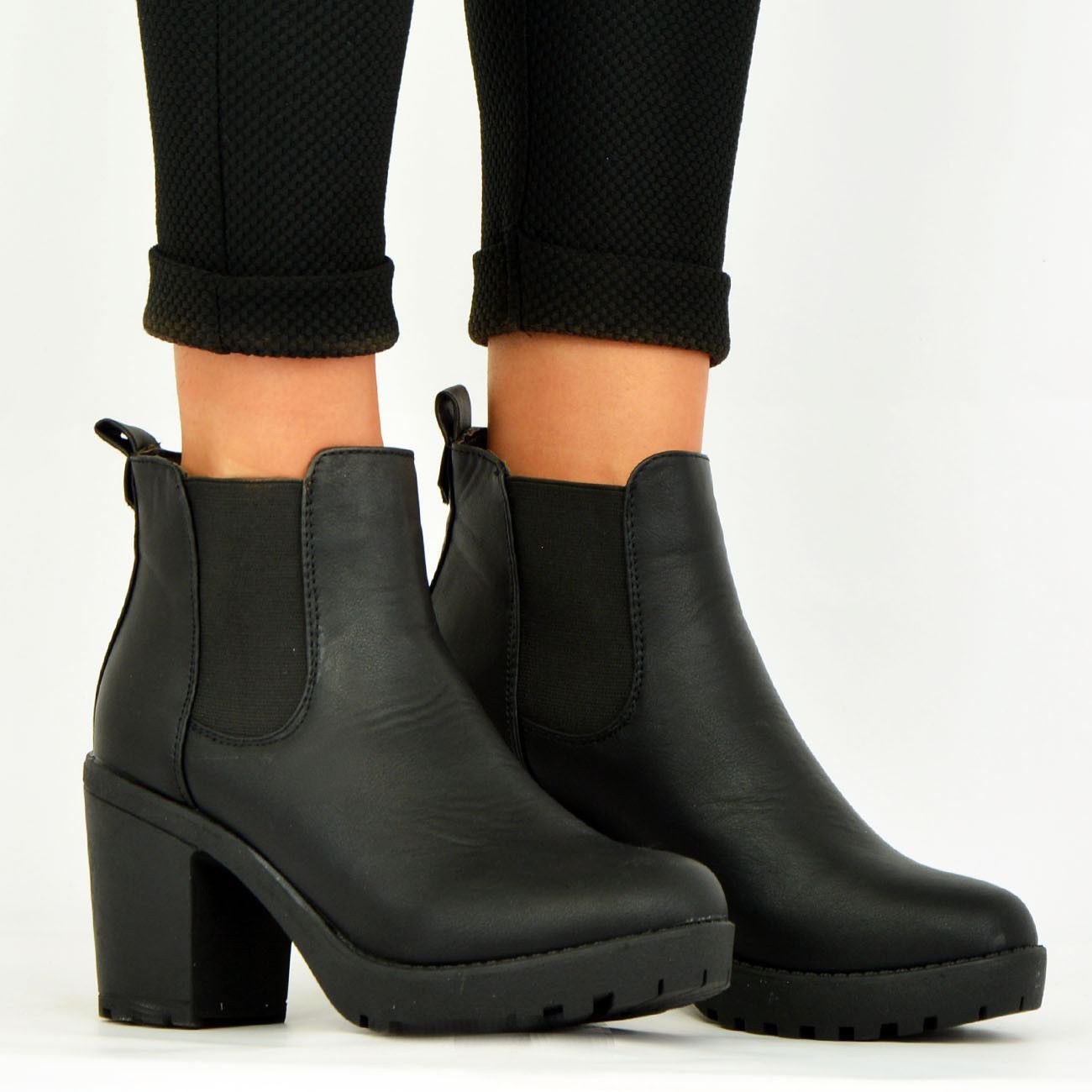 LADIES-WOMENS-ANKLE-CHELSEA-BOOTS-CHUNKY-BLOCK-HEELS-PLATFORM-SHOES-SIZE-UK-3-8 thumbnail 7