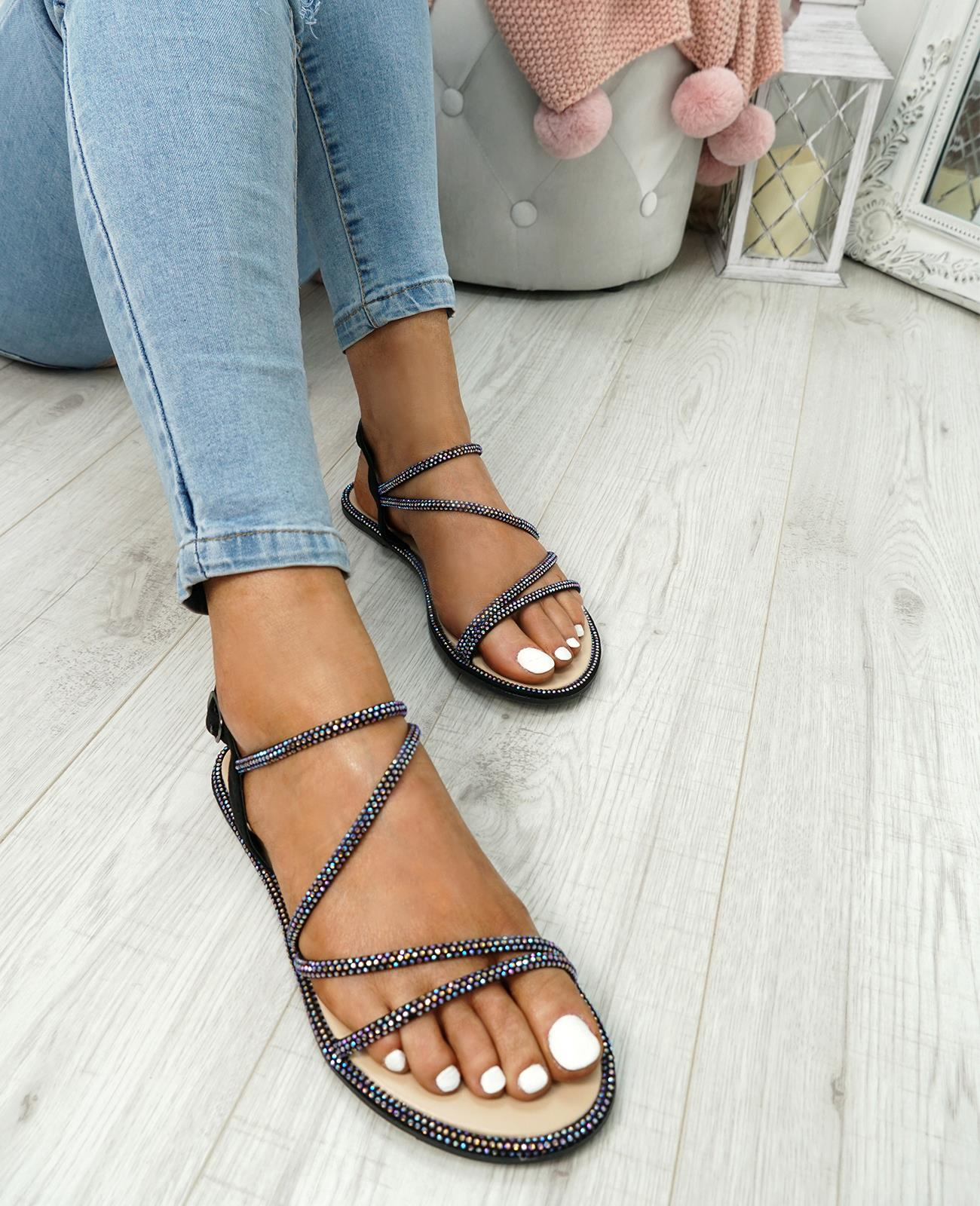 WOMENS-LADIES-STUDDED-ANKLE-STRAP-FLAT-SHOES-PARTY-CLUB-SANDALS-SHOES-SIZE-UK thumbnail 6