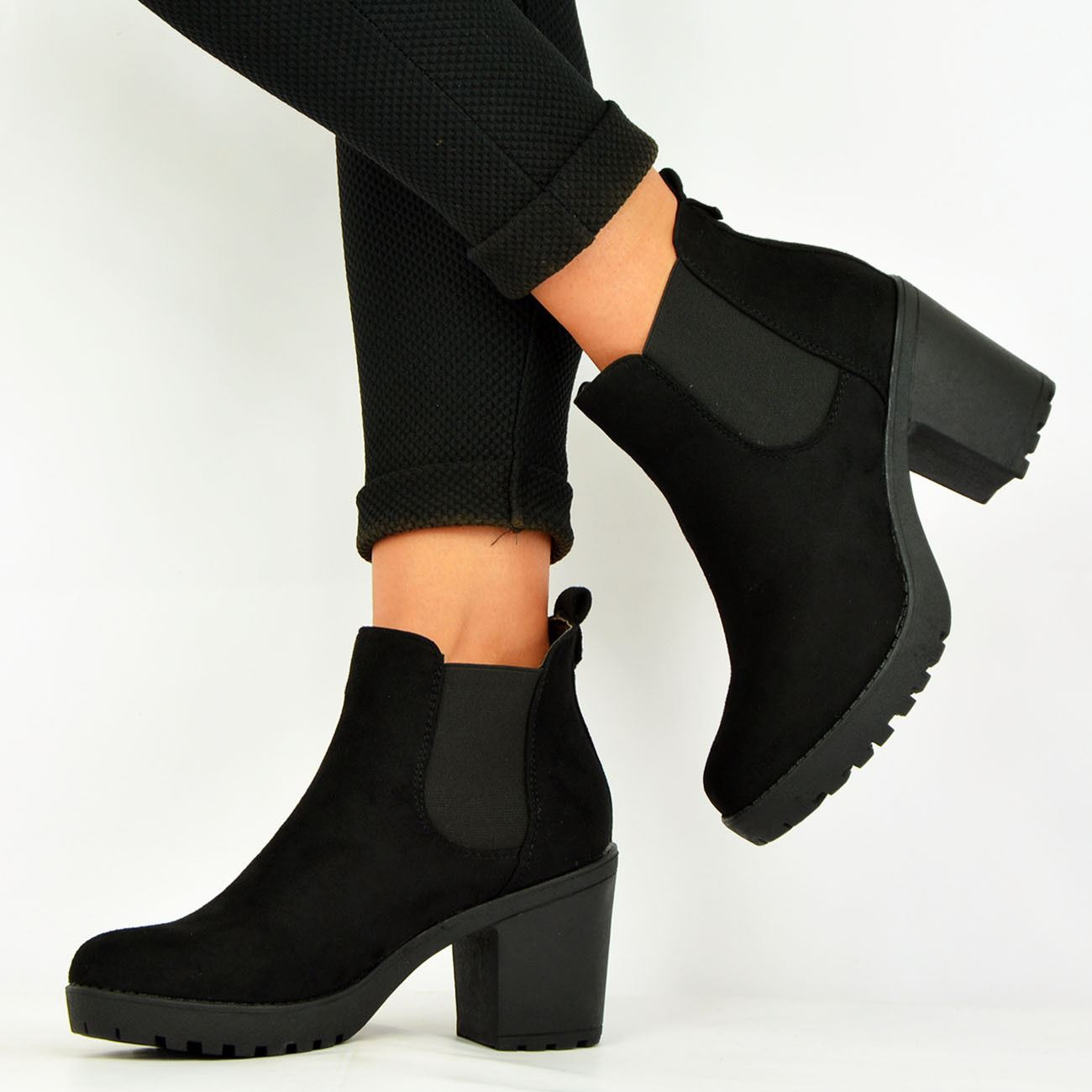 LADIES-WOMENS-ANKLE-CHELSEA-BOOTS-CHUNKY-BLOCK-HEELS-PLATFORM-SHOES-SIZE-UK-3-8 thumbnail 9