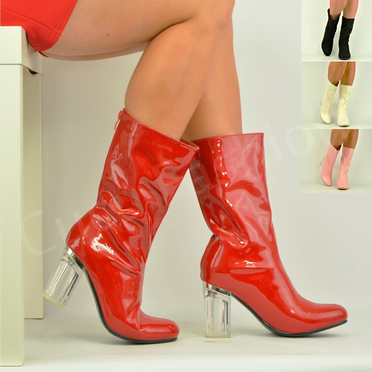 a3099bbe0e New Womens Ladies Clear Perspex Block Heel Calf Ankle Boots Zip ...