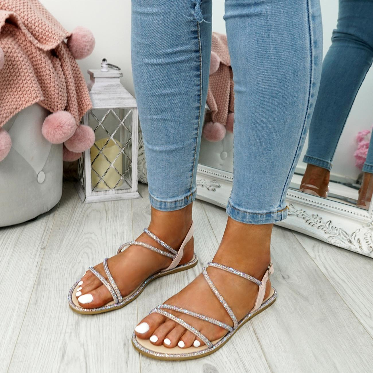 WOMENS-LADIES-STUDDED-ANKLE-STRAP-FLAT-SHOES-PARTY-CLUB-SANDALS-SHOES-SIZE-UK thumbnail 15