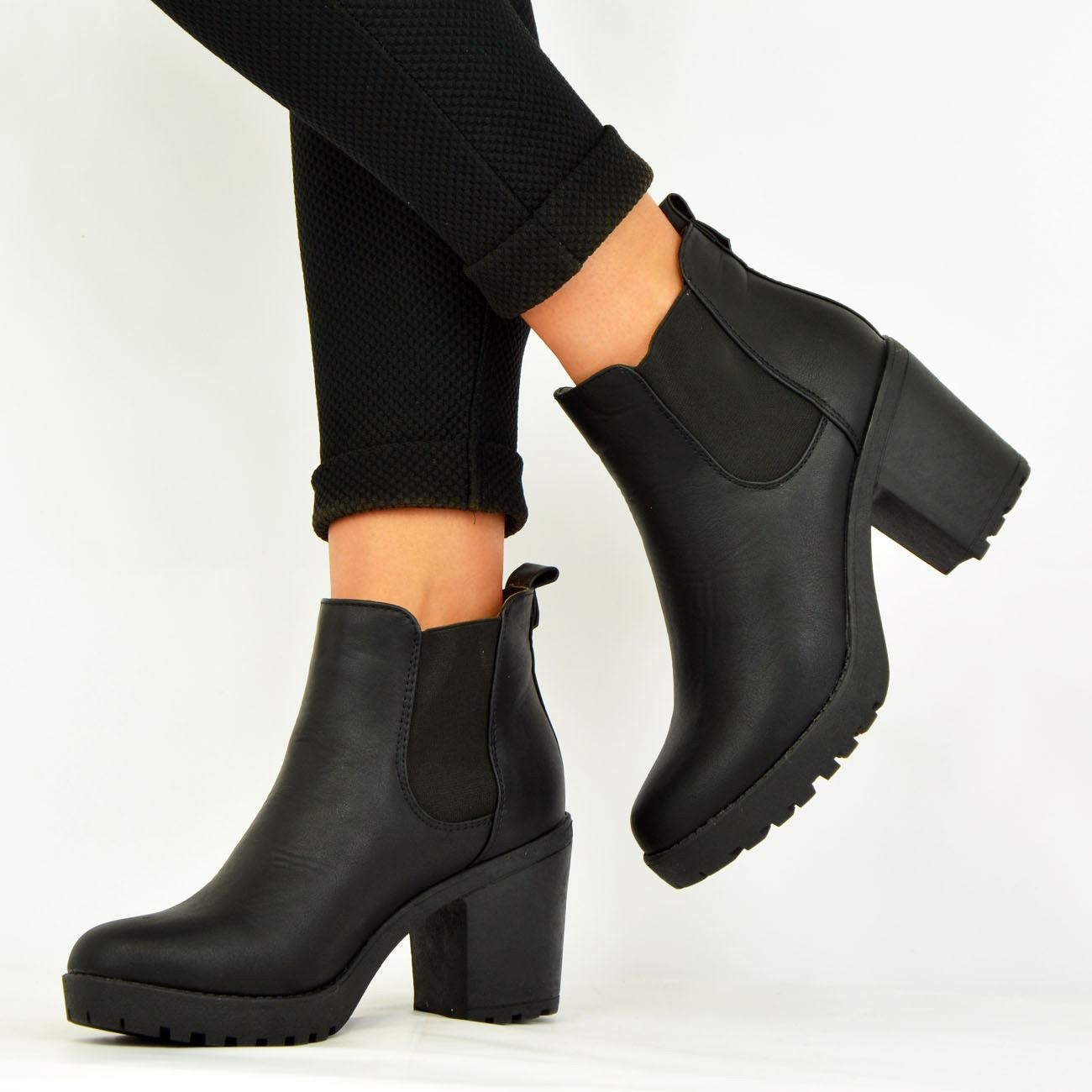 LADIES-WOMENS-ANKLE-CHELSEA-BOOTS-CHUNKY-BLOCK-HEELS-PLATFORM-SHOES-SIZE-UK-3-8 thumbnail 5