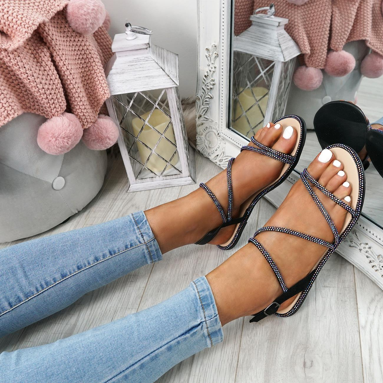 WOMENS-LADIES-STUDDED-ANKLE-STRAP-FLAT-SHOES-PARTY-CLUB-SANDALS-SHOES-SIZE-UK thumbnail 7