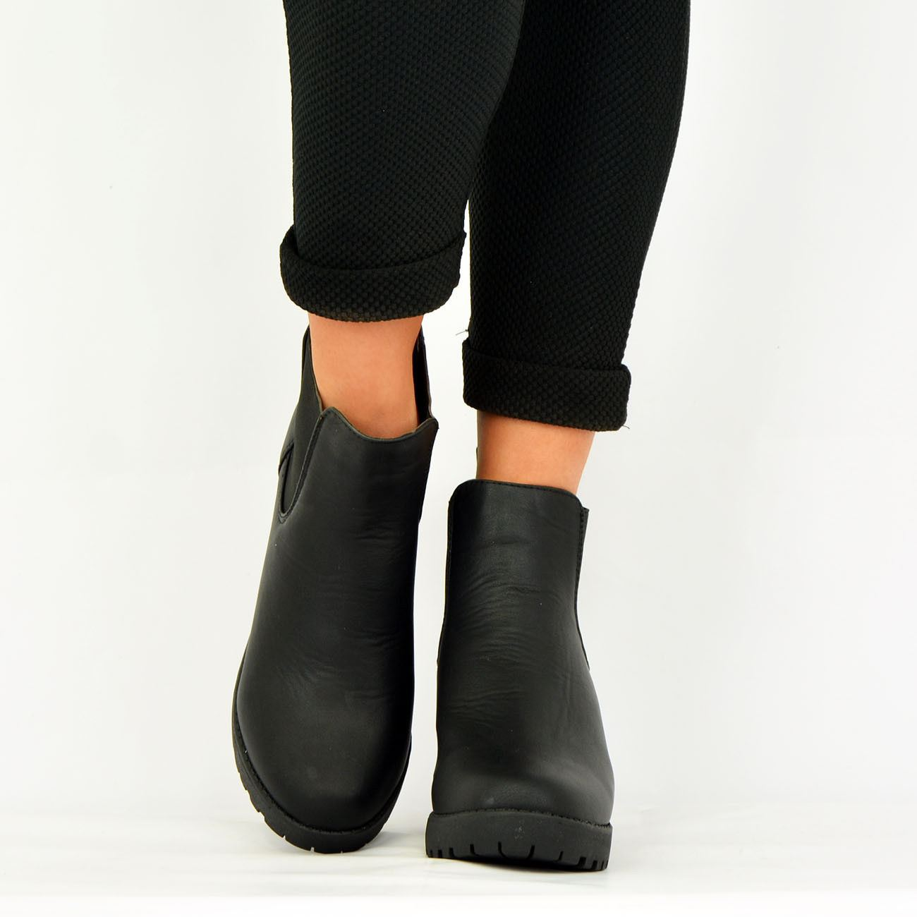 LADIES-WOMENS-ANKLE-CHELSEA-BOOTS-CHUNKY-BLOCK-HEELS-PLATFORM-SHOES-SIZE-UK-3-8 thumbnail 6