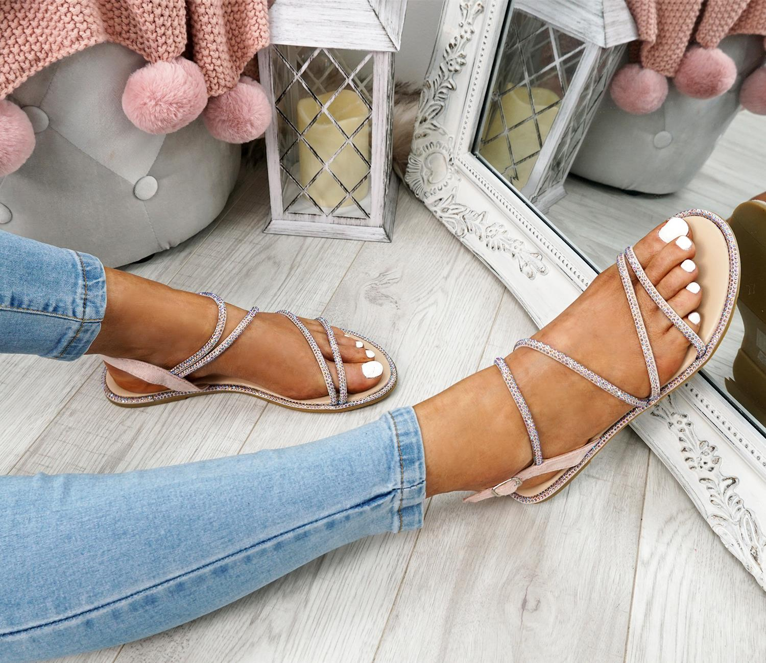 WOMENS-LADIES-STUDDED-ANKLE-STRAP-FLAT-SHOES-PARTY-CLUB-SANDALS-SHOES-SIZE-UK thumbnail 13