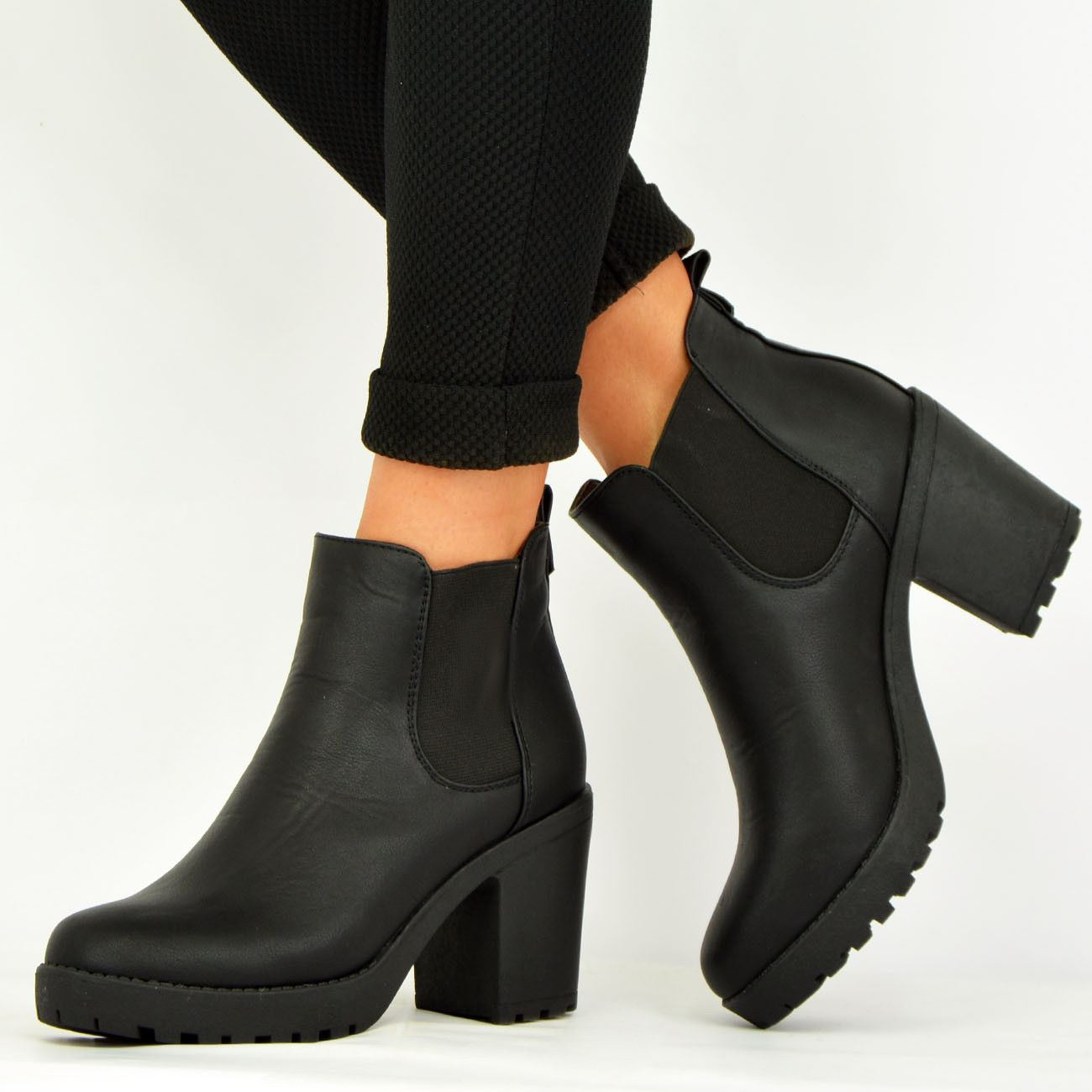 LADIES-WOMENS-ANKLE-CHELSEA-BOOTS-CHUNKY-BLOCK-HEELS-PLATFORM-SHOES-SIZE-UK-3-8 thumbnail 4