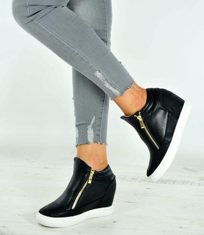 New Womens Ladies Wedge Trainers Heels Sneakers Side Zip ...
