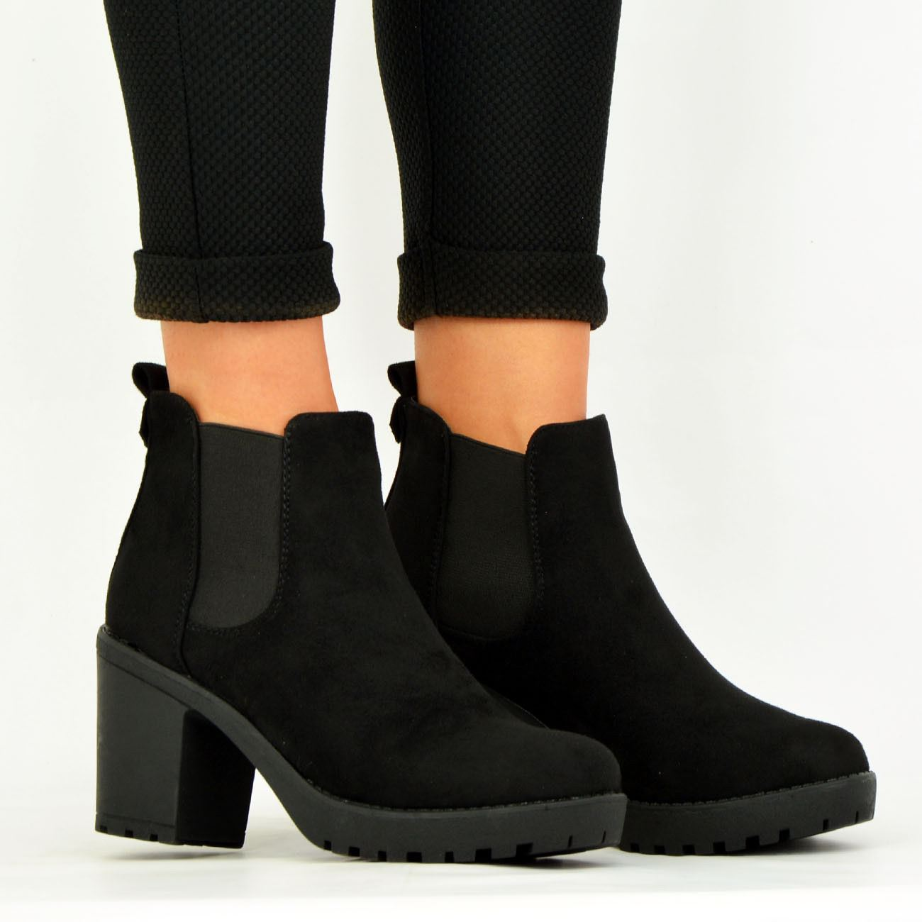 LADIES-WOMENS-ANKLE-CHELSEA-BOOTS-CHUNKY-BLOCK-HEELS-PLATFORM-SHOES-SIZE-UK-3-8 thumbnail 11