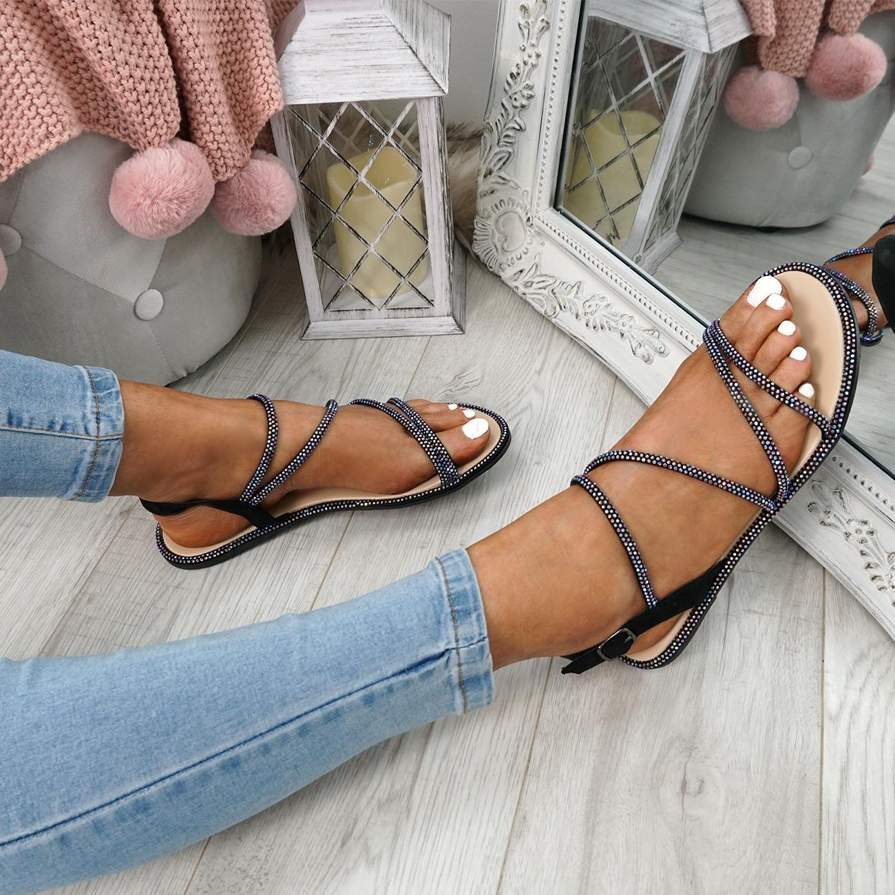 WOMENS-LADIES-STUDDED-ANKLE-STRAP-FLAT-SHOES-PARTY-CLUB-SANDALS-SHOES-SIZE-UK thumbnail 8