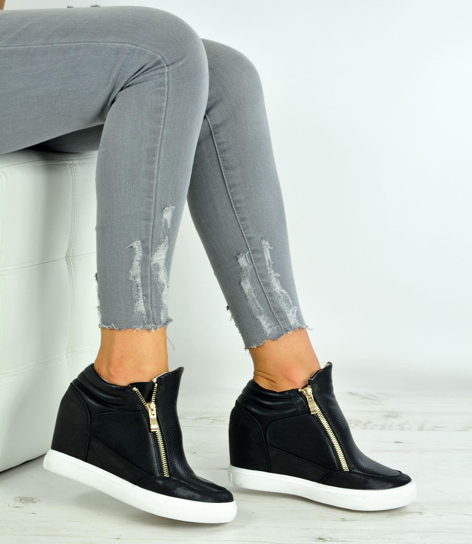 4adddc31b179 New Womens Ladies Wedge Trainers Heels Sneakers Side Zip Shoes Size ...