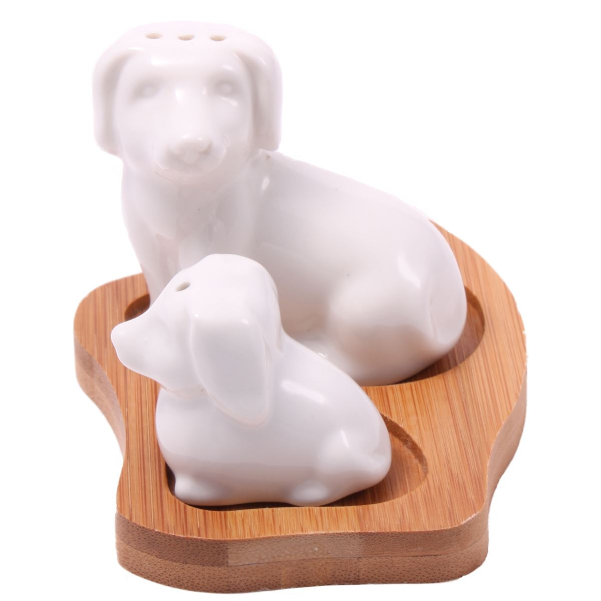 Details about Dog & Puppy Cruet Set - Porcelain Shakers on Bamboo Base
