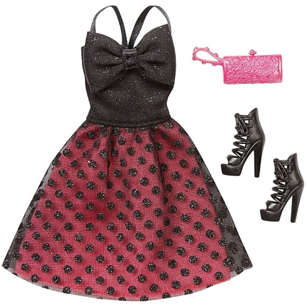 Barbie Komplett Look Packung - schwarzen Punkten Kleid,Schuhe ...