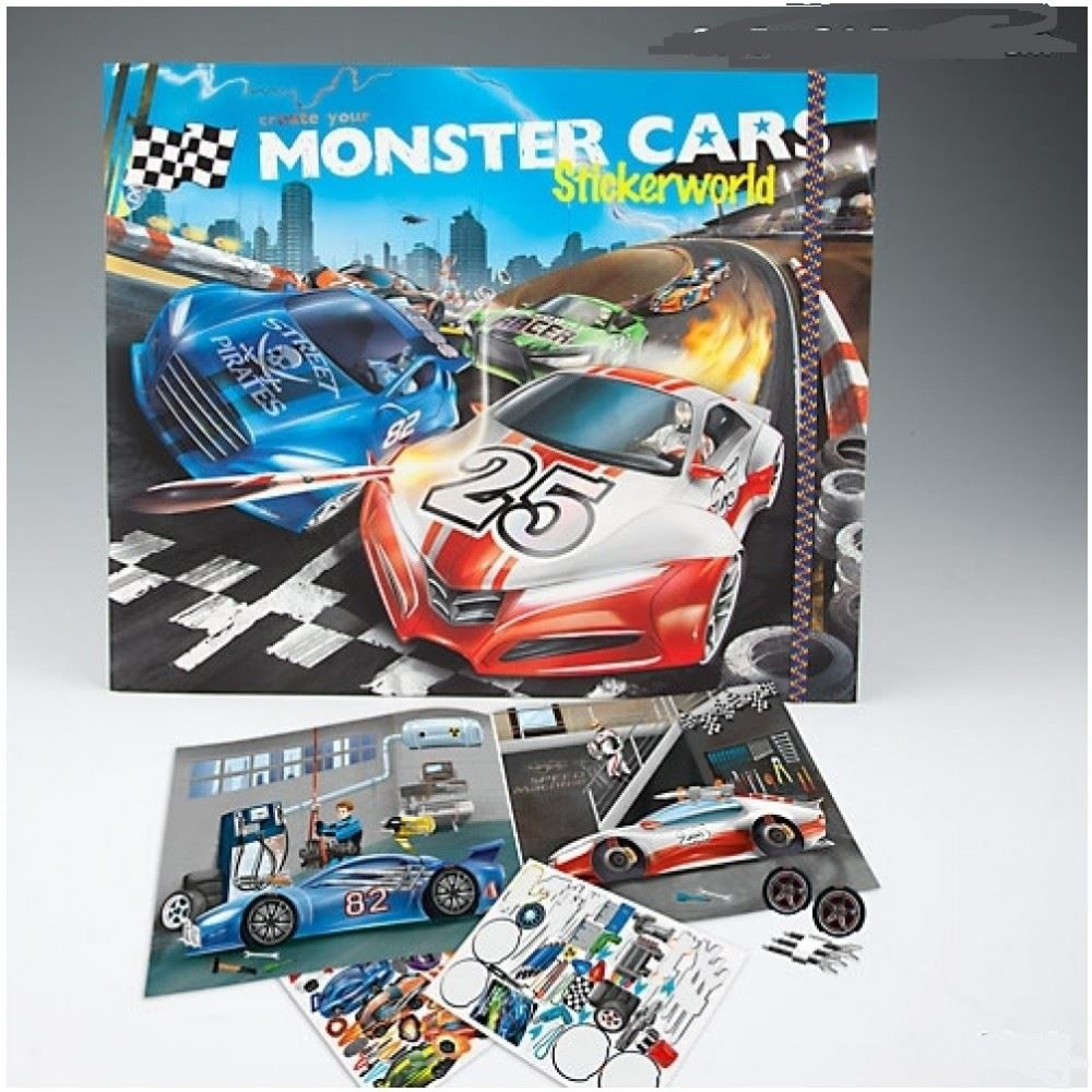 Create Your Monster Cars Sticker Book By Depesche Ebay