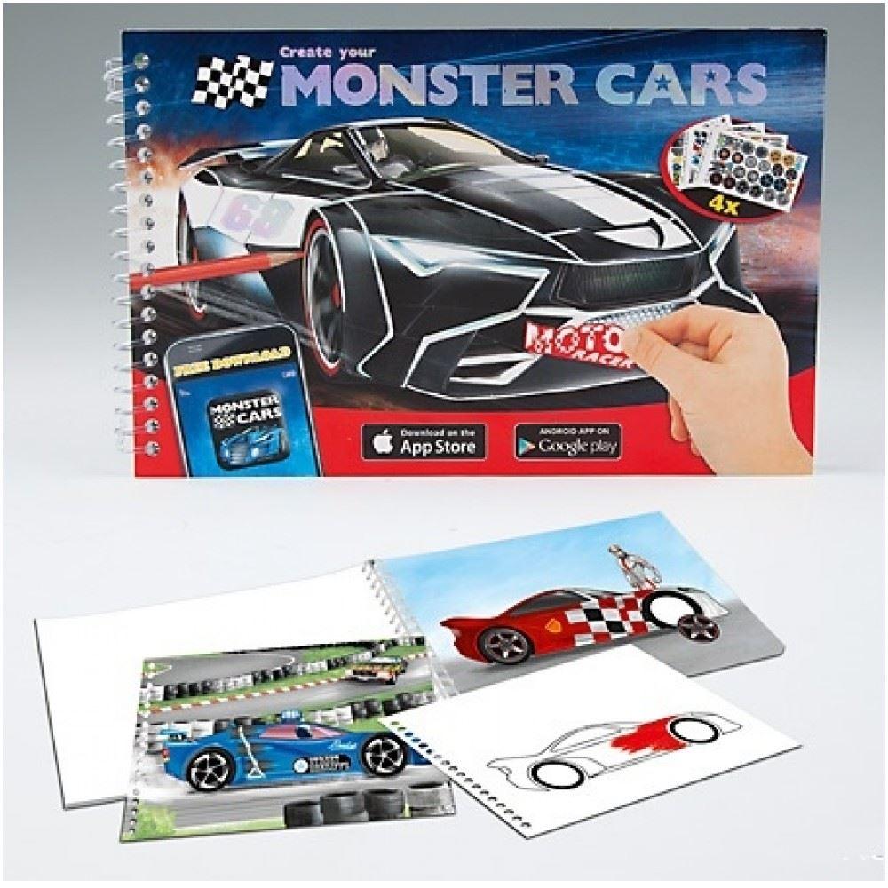 Depesche Monster Cars Pocket Colouring Book Colouring Sticker