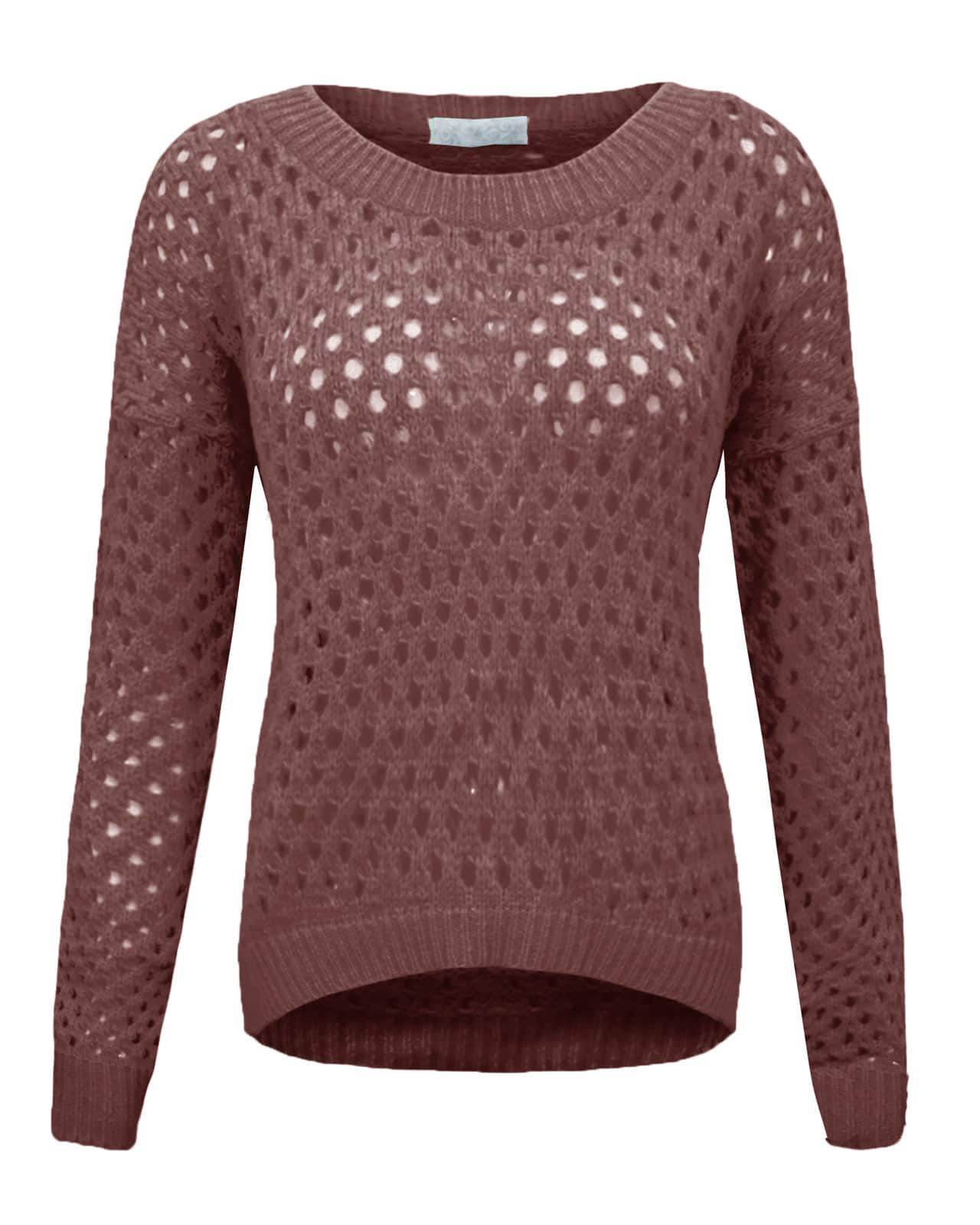 Ladies Womens Knitted Crochet Plain Jumper Soft Knit Crew Neck Baggy ...