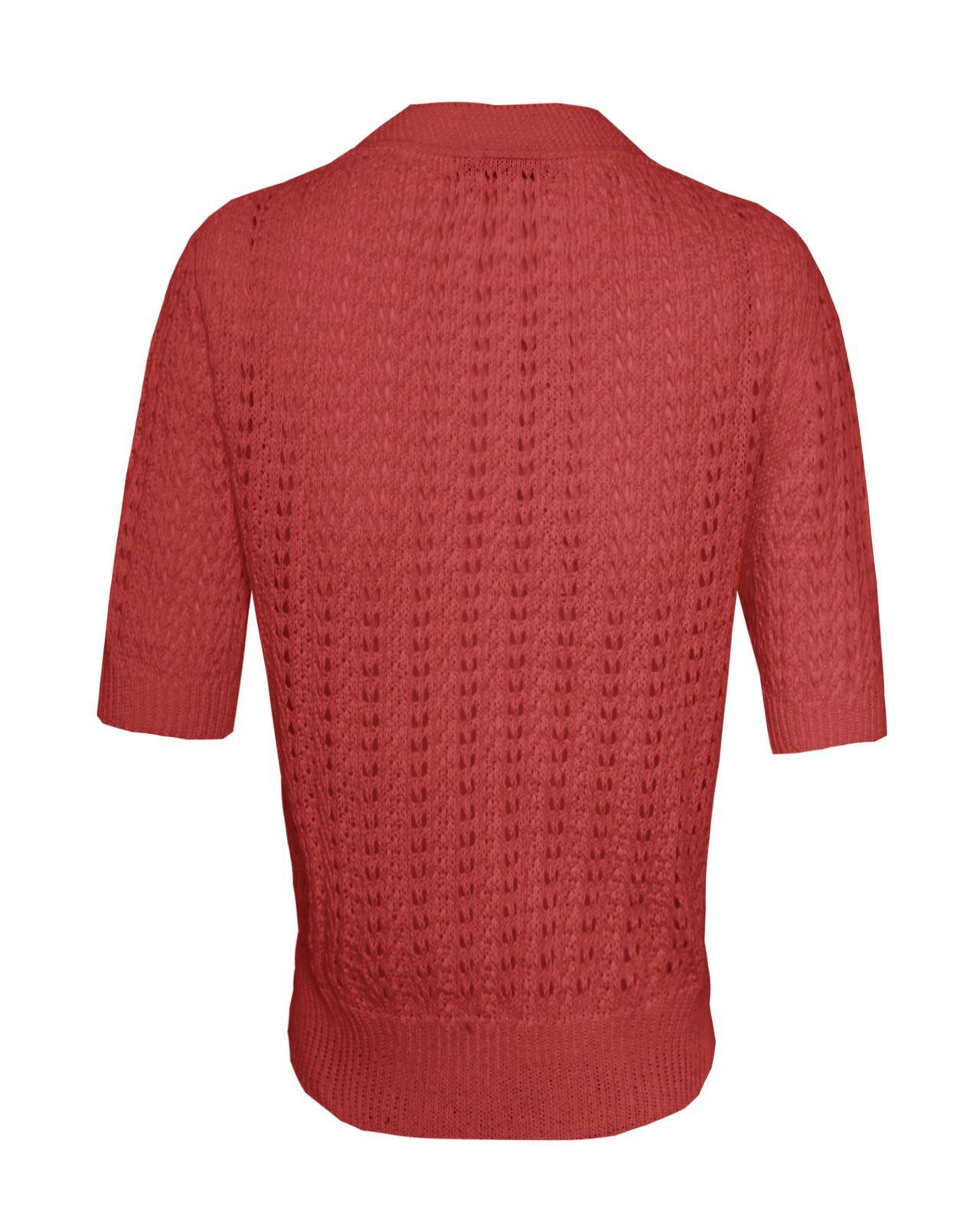 Mesdames-crochet-tricote-pour-femme-manches-courtes-hausser-brooched-cardigan-crop-top-8-14 miniature 6