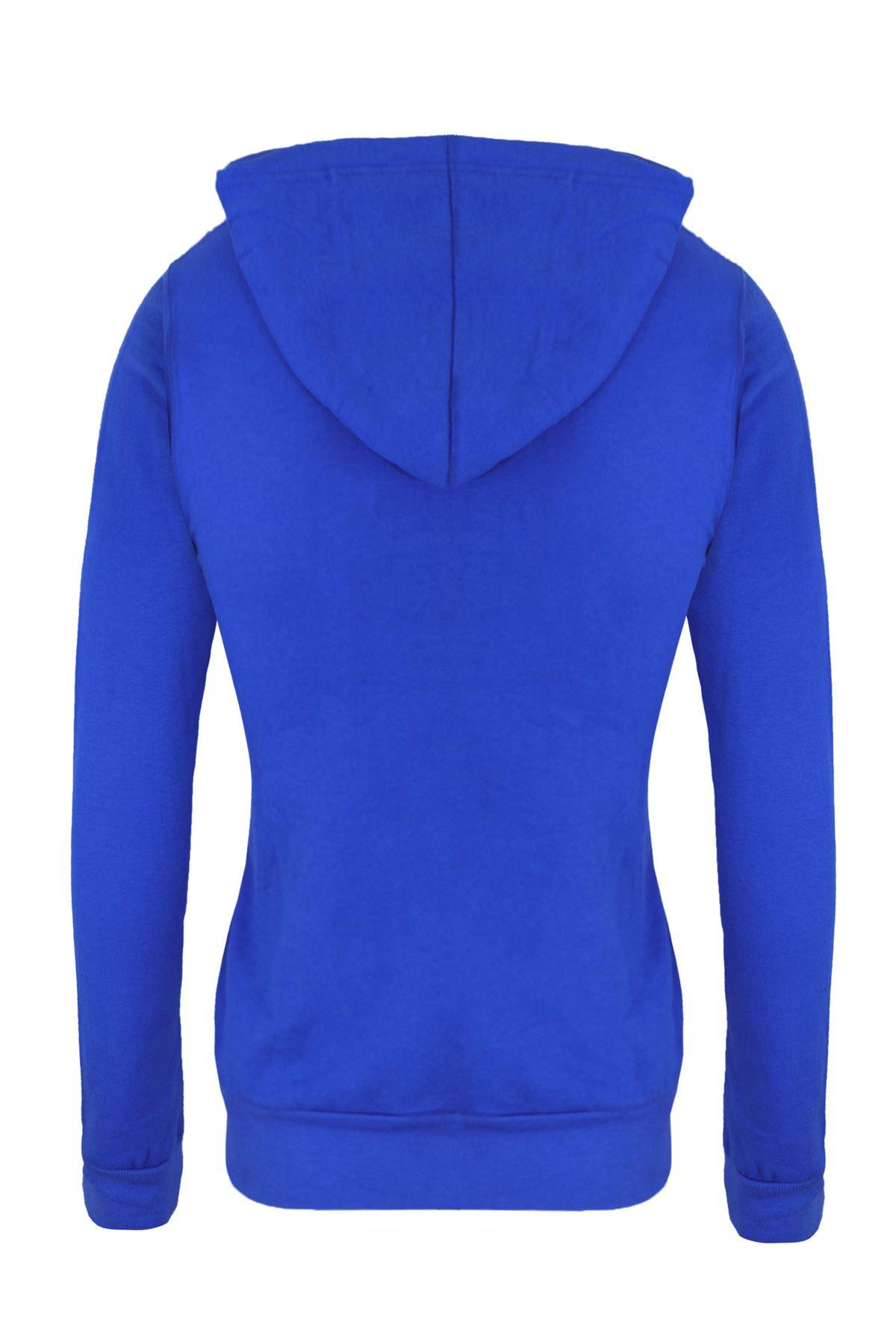 Femmes-Manches-Longues-Uni-A-Capuche-Femmes-Sweat-a-Capuche-Coton-Top-8-10-12-14 miniature 5