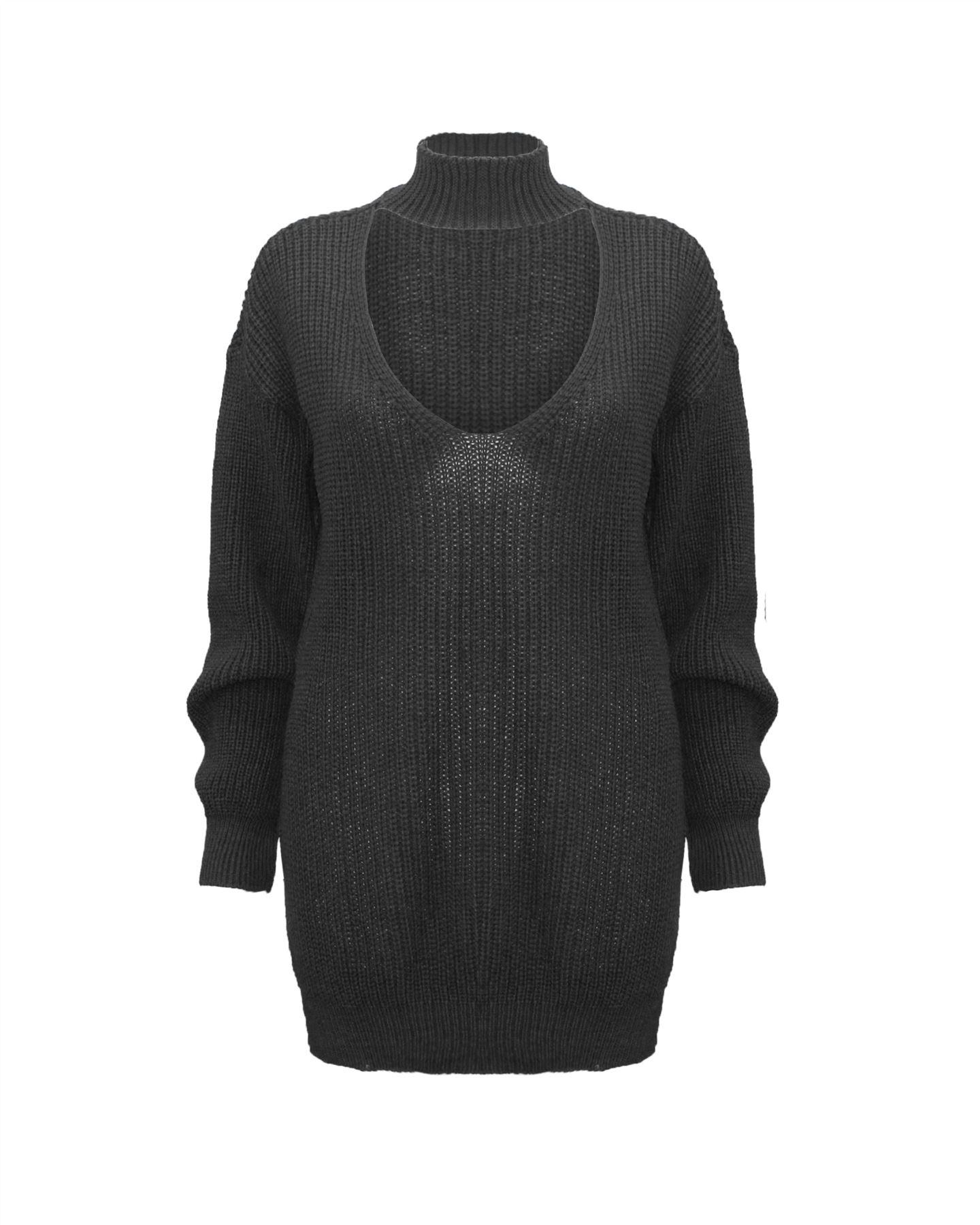 Le-donne-Donna-A-Maglia-Girocollo-Maglione-a-trama-grossa-Collo-Top-Baggy-Over-dimensionati-sweater miniatura 14
