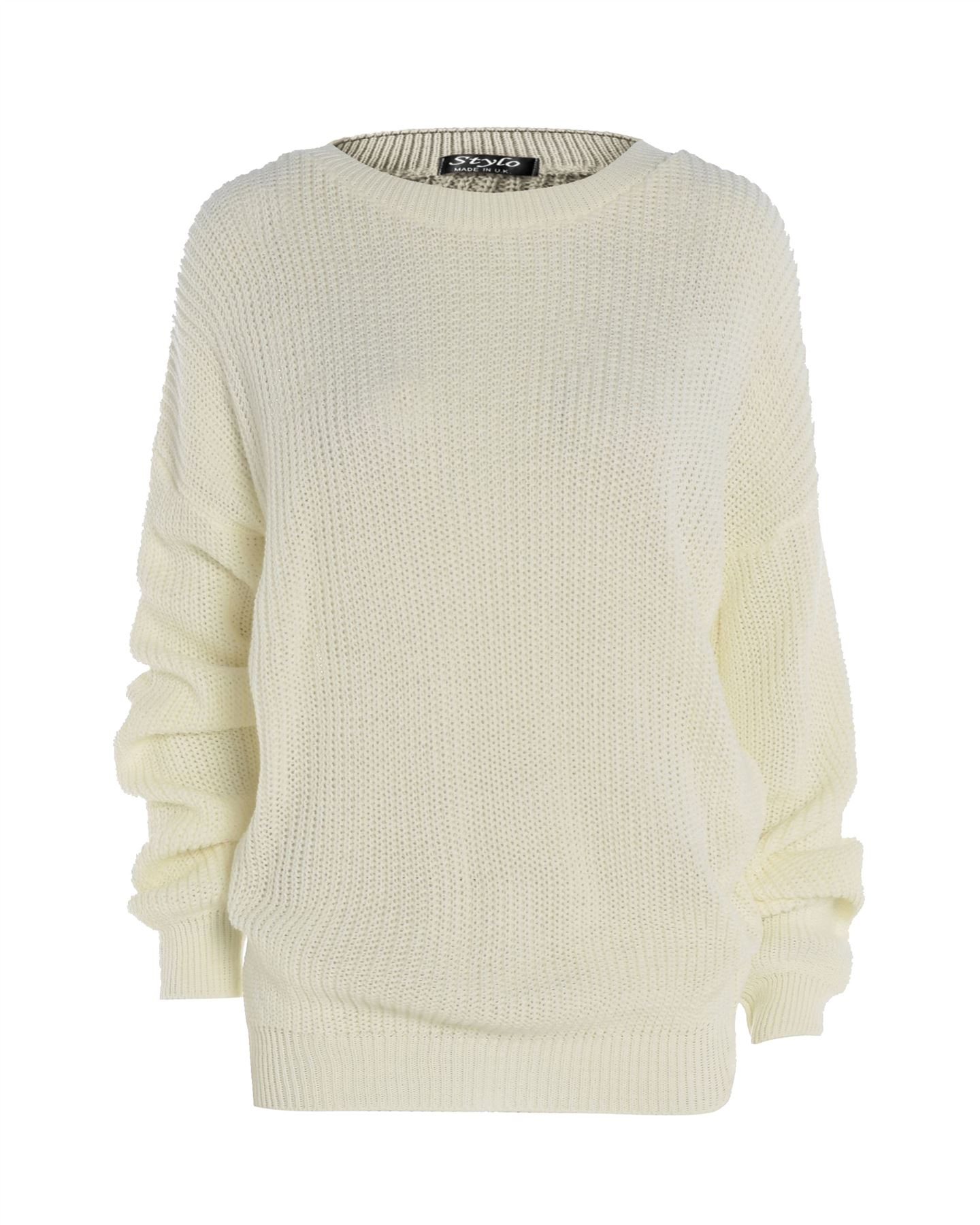 Ladies Women Knitted Long Sleeve Over sized Chunky Knit Baggy Jumper Sweater ...